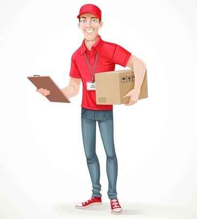 Young man courier delivery services of holding a large box and the plate with a shuttle sheet isolated on white background