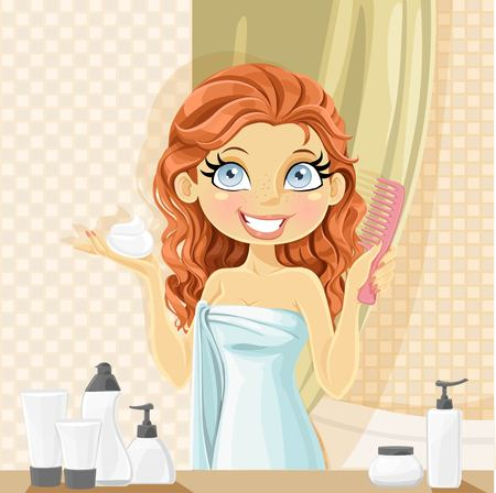 Beautiful young brunette woman puts wet hair styling mousse in the bathroom.