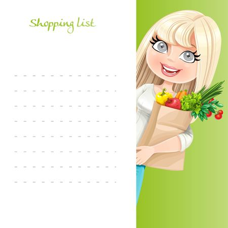 lady shopping: Cute blond girl with paper bag fresh fruits and vegetables hold white banner shopping list Illustration