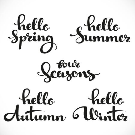 four: Four seasons calligraphic inscription on a white background