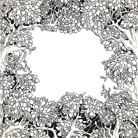 Frame for text decoration Enchanted Forest black and white Illustration