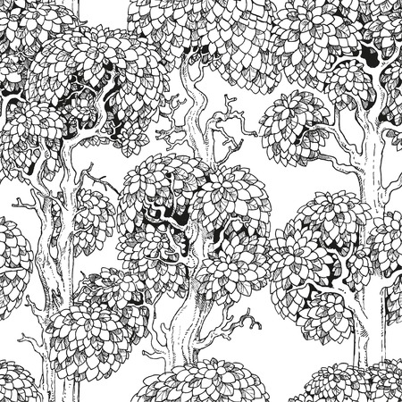 Seamless pattern of enchanted old trees graphic draw black and white