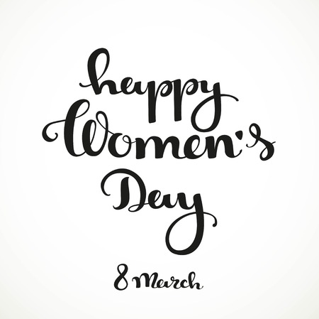 wallpaper International Women s Day: Happy womens day calligraphic inscription on a white background