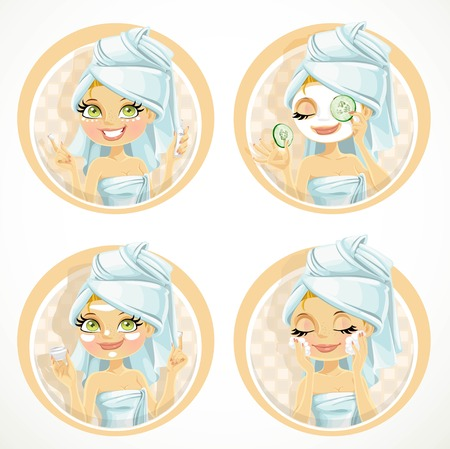 Cute girl in turban from towel put a cream or mask on face cosmetic emblems set isolated on white background Stok Fotoğraf - 52987059