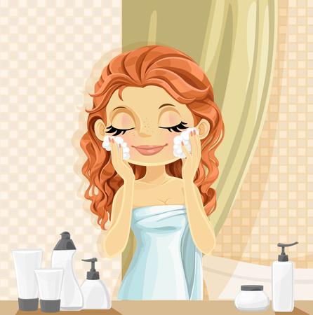 face: Linda chica morena se lava lavado facial en el baño