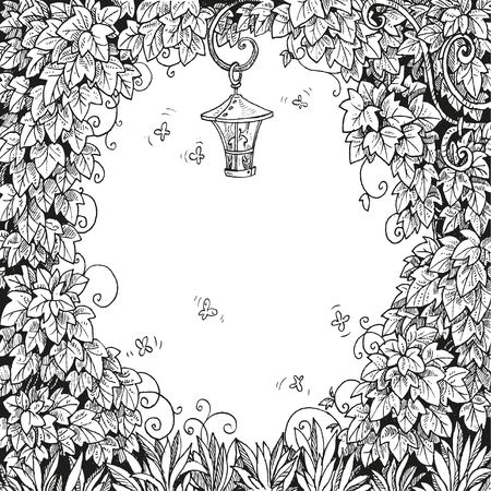 enchanted: Frame for text decoration Enchanted Forest with a flashlight and ivy black and white