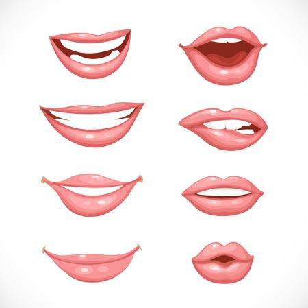 tongue: Female lips in nature colors isolated on a white background Illustration