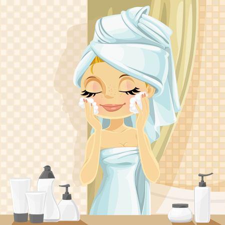 moisturizing: Cute girl in turban washes facial wash  in the bathroom Illustration