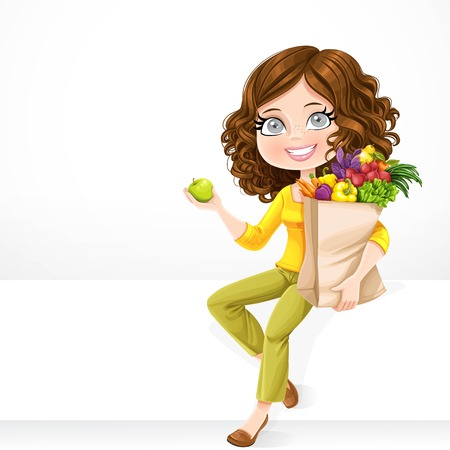 basil: Cute brunette girl with paper bag fresh fruits and vegetables and green apple in hand sit on a white banner on white background Illustration