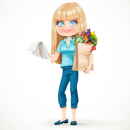 shopping list: Cute blond girl with paper bag fresh fruits and vegetables and notepad with a shopping list standing on a white background