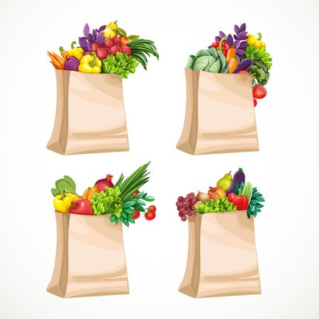 paper bags: Paper bags filled with organic food fruits and vegetables isolated on white background