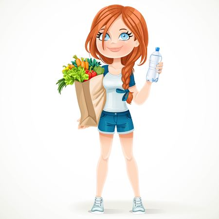 basil: Beautiful girl in a sports suit holds a paper bag of healthy food and water bottle isolated on white background Illustration