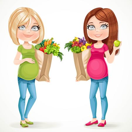 mother and baby: Two cute pregnant women blond and brunette in green and pink with paper bags fresh fruits and vegetables isolated on white background