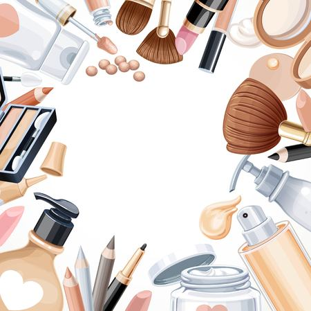 cosmetics background: White background with cosmetic objects for makeup
