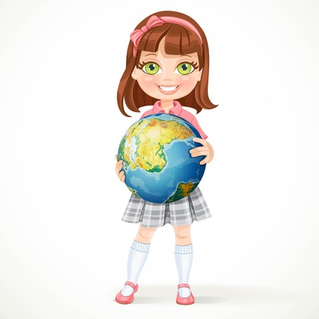 green little planet earth: Cute little girl in school uniform holding a globe in his hands. Earth Day