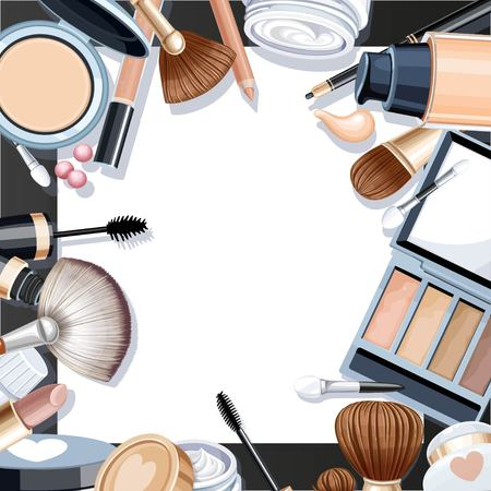 objects paper: Black background with cosmetic objects for makeup frame on white paper Illustration