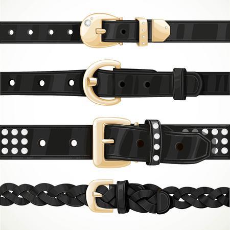 Set aus schwarzen knöpft Gürtel Schnalle isoliert auf weißem Hintergrund