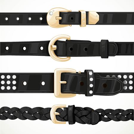 gold buckle: Set of black buttoned to buckle belts isolated on white background