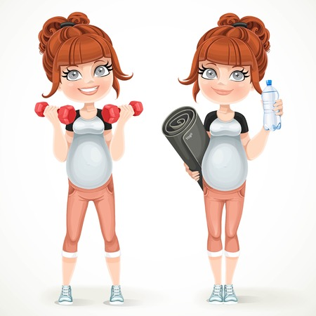Cute pregnant woman preparing to do yoga and do exercise with dumbbells isolated on a white background 일러스트