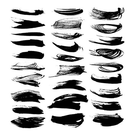 brush stroke: Abstract black ink strokes isolated on a white background Illustration