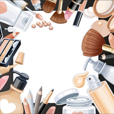objects paper: Black background with cosmetic objects for makeup on white paper Illustration