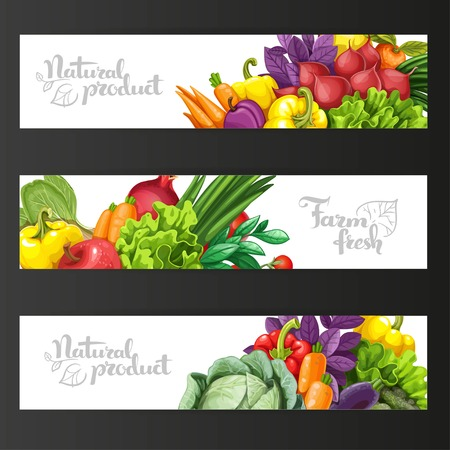 green pepper: Three horizontal banners with fresh fruits and vegetables on a black background