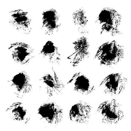 smears: Abstract black textured ink smears isolated on a white background