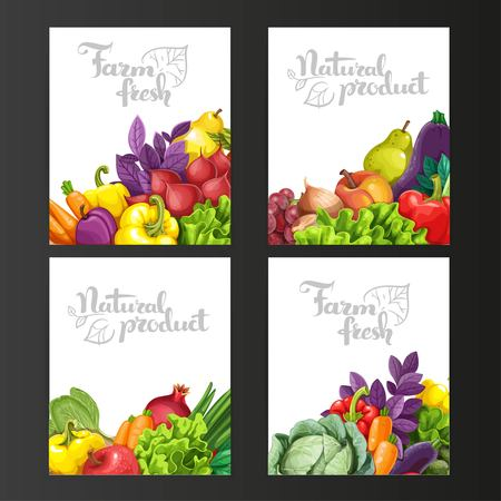 Four vertical banners with fresh fruits and vegetables on a black background