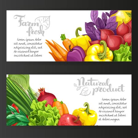 Two horizontal banners with fresh fruits and vegetables on a black background Ilustração