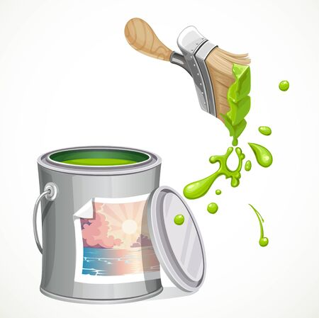 pouring: Iron bank with paint and brush splashes of green paint isolated on white background