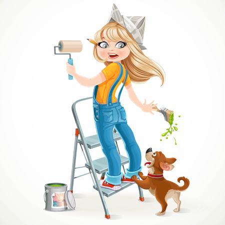 Leuk meisje in overalls die zich op een trapladder met een verfroller en angstige hond speels op een witte achtergrond