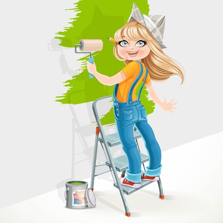 Cute girl in overalls standing on a stepladder with a paint roller isolated on white background