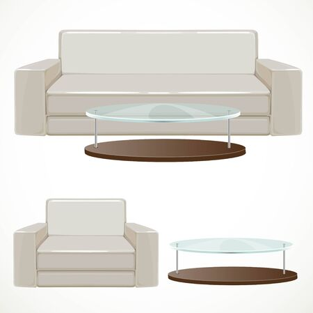 coffee table: Sofa and armchair upholstered with light beige and coffee table with glass top illustration isolated on white background