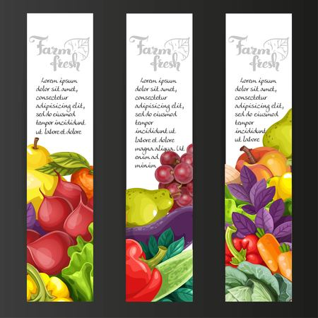 edible: Vertical banners with fresh fruits and vegetables on a black background