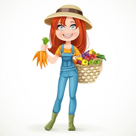 brawny: Cute young farmer girl with a big basket of vegetables isolated on white background Illustration