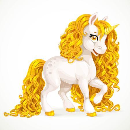 mane: White fabulous unicorn with golden mane isolated on a white background