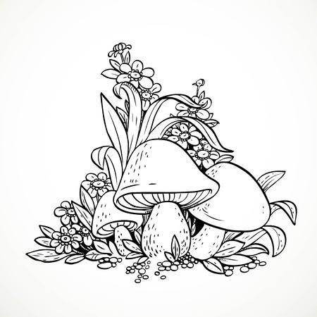 Decorative graphics mushrooms and flowers. Black and white. Coloring book