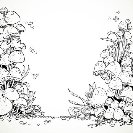 magic mushroom: Fairytale decorative graphics mushrooms in the magic forest. Black and white. Coloring book