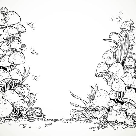 hongo: Fairytale setas decorativas de gráficos en el bosque mágico. En blanco y negro. Libro de colorear