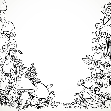champignons graphiques décoratifs Fairytale et fleurs dans la forêt magique. Noir et blanc. Livre de coloriage Vecteurs