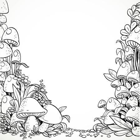 Fairytale decoratieve graphics paddestoelen en bloemen in het magische bos. Zwart en wit. Kleurboek Vector Illustratie