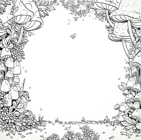 Fairytale decorative mushrooms and flowers in the magic forest. Black and white. Coloring book