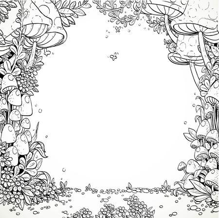 hongo: setas decorativas de cuentos de hadas y flores en el bosque mágico. En blanco y negro. Libro de colorear
