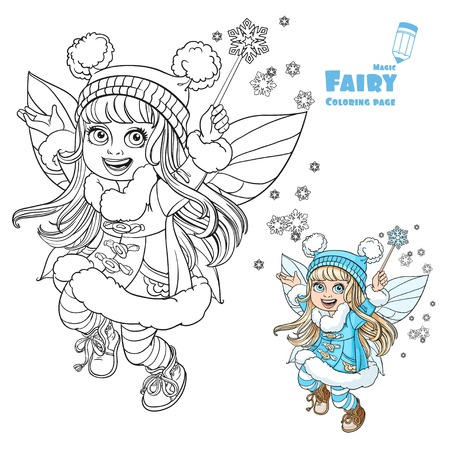 faery: Cute little winter fairy girl with a Magic wand color and outlined picture for coloring book on a white background