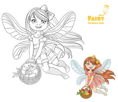 faery: Cute little fairy girl with a round wicker basket filled fruit color and outlined picture for coloring book on a white background