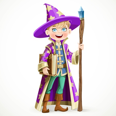 bewitch: Cute boy dressed as a Wizard with the book and a magic staff isolated on white background