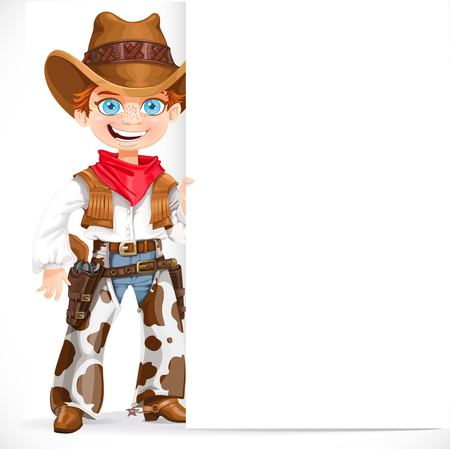wrangler: Cute boy dressed as a cowboy with big white blank banner isolated on a white background