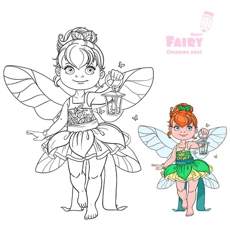 Beautiful little fairy with a flashlight color and outlined picture for coloring book on white background Illustration
