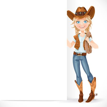 lasso: Beautiful girl in a cowboy hat and with lasso hold big white blank banner isolated on a white background