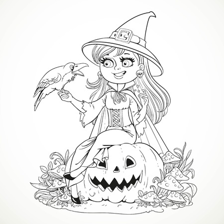talks: Beautiful witch sitting on a pumpkin and talks to the black raven outlined for coloring book isolated on white background Illustration
